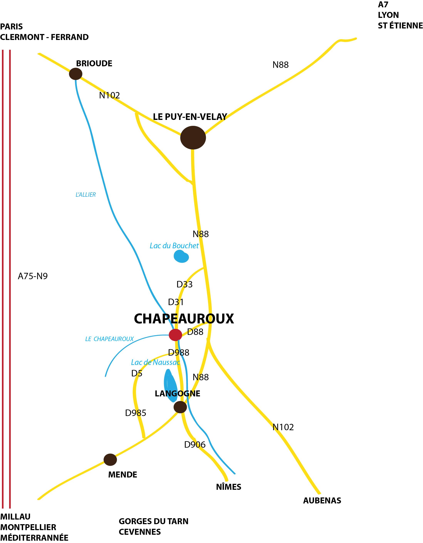 CARTE GEOGRAPHIQUE DE CHAPEAUROUX